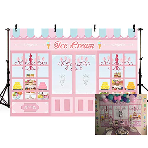 MEHOFOTO Cute Pink Photo Studio Background Ice Cream Themed Parlor Door Window Cake Princess Birthday Party Banner Wallpaper Photography Backdrops for Picture 7x5ft