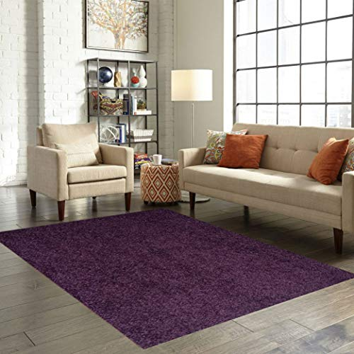 Home Queen Color World Collection Way Solid Color Purple Area Rug – 3 x5