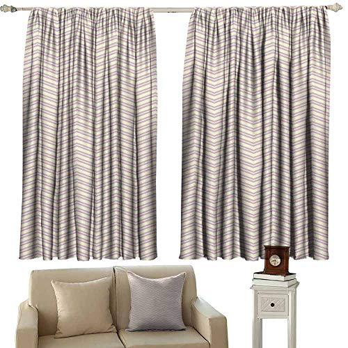 Lilac Gingham Liner - Room Darkening Wide Curtains Geometric Chevron Zigzag Lines Geometric Pattern Wavy Stripes Vintage Nostalgic Light Blocking Drapes with Liner W63 xL63 Pale Yellow Lilac