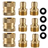 HQMPC Garden Hose Quick Connect Brass Hose Quick Connectors Water Hose Connector 3/4'' (3 Female+ 6 Male)