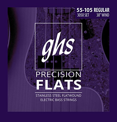 (GHS Strings M3050 4-String Precision Flatwound, Stainless Steel Flat Wound Bass Strings, Long Scale Plus (.045-.105))