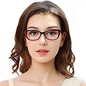 OCCI CHIARI Fashion ButterflyAcetate Eyeglasses Frame With Clear Lenses W-ZEI (Red)
