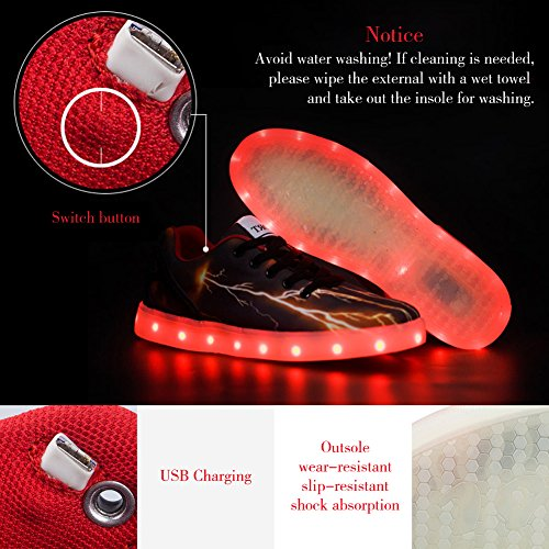 Sibba Chaussures avec Lumière LED Chaussures Chaussures de Sport Lumineuses USB Rechargeable Lumière Clignotante
