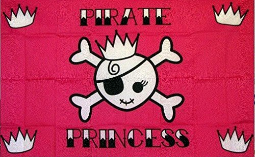 (New Pink Pirate Princess Skull 12 X 18 inch Flag with 24