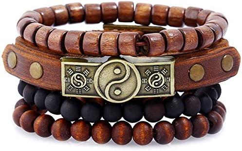 Seraphis Yin Yang Bracelet Handmade Set Wooden Wristband For Men Women Vintage Bangles Yoga