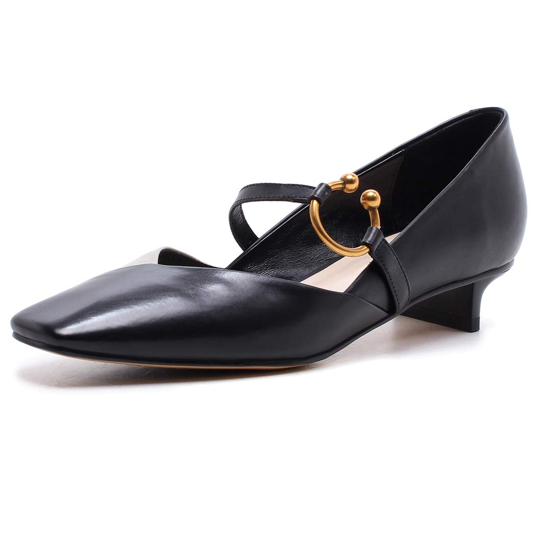 noir  ZYN-XX Chaussures à Talons Bas pour Femmes, tête voiturerée, Couleur Assorcravate, Chaussures de Quatre Saisons Creuses, Boucle de Ceinture, Chaussures à Talons pour Femmes