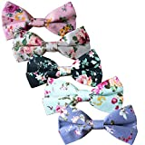 Floral Bow Tie for Men Cotton Flower Printed Bowties for Wedding Business