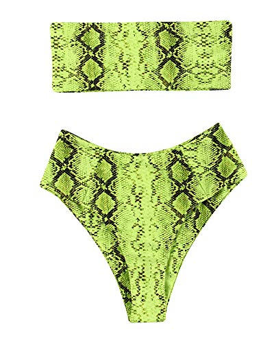 (OMKAGI Women's 2 Pieces Bandeau Bikini Swimsuits Off Shoulder High Waist Bathing Suit High Cut(M,Snakeprint-GR))