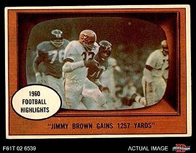 Jim Brown Highlights >> Amazon Com 1961 Topps 77 1960 Football Highlights Jim