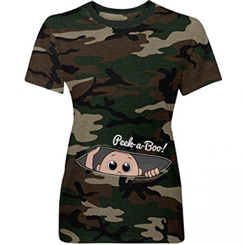 Peek A Boo Camo Baby: Misses Fit Pattern T-Shirt (Womens Camo Baby T-shirt)