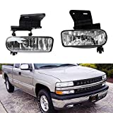 iJDMTOY Clear Lens Fog Lights Foglamp Kit with 880 Halogen Bulbs w/Mounting Brackets For 1999-2002 Chevrolet Silverado 1500 2500, 2000-2001 3500, 2000-2006 Suburban Tahoe