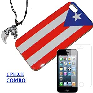 IPHONE 5 5S PUERTO RICAN FLAG HARD PROTECTOR CASE + DRAGON NECKLACE + SCREEN PROTECTOR (BRAND NEW)