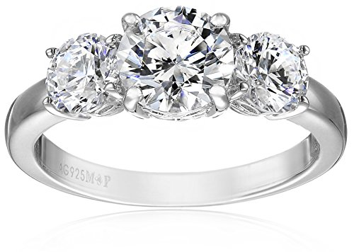 (Platinum-Plated Sterling Silver Round 3-Stone Ring made with Swarovski Zirconia (4 cttw), Size 6)