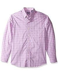 Men's Big and Tall Button Down Long Sleeve Stretch Performance Plaid Shirt