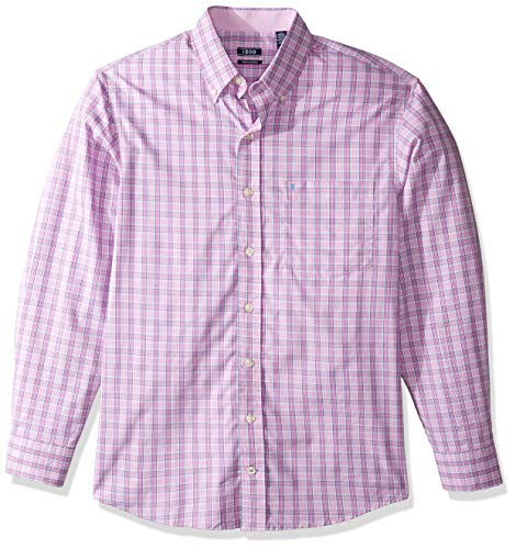 (IZOD Men's Tall Button Down Long Sleeve Stretch Performance Plaid Shirt, Rosebud 3X-Large)