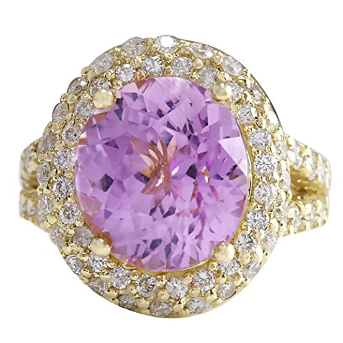 11.51 Carat Natural Pink Kunzite and Diamond (F-G Color, VS1-VS2 Clarity) 14K Yellow Gold Luxury Cocktail Ring for Women Exclusively Handcrafted in USA