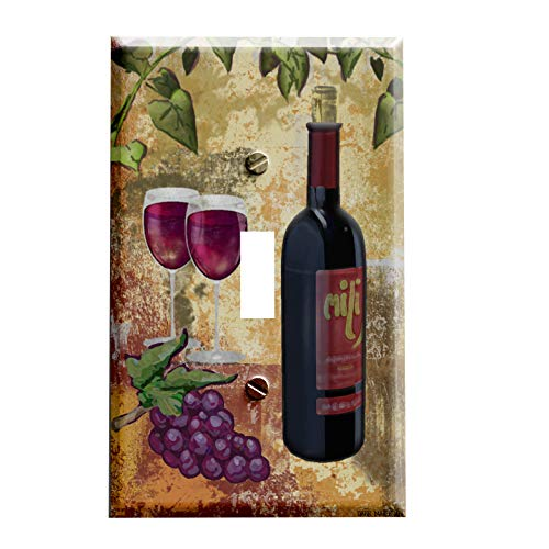 Grapes and Red Wine Switchplate - Single Toggle Switch Plate Cover