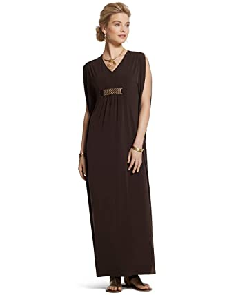 847ab9064a Chico's Women's Knit Kit Caftan Long Flowy Dress Cocoa Bean X-Small ...