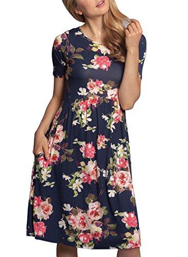 ZESICA Women's Summer Short Sleeve Floral Print Pockets Casual Swing Tunic (Empire Waist Floral Tunic)