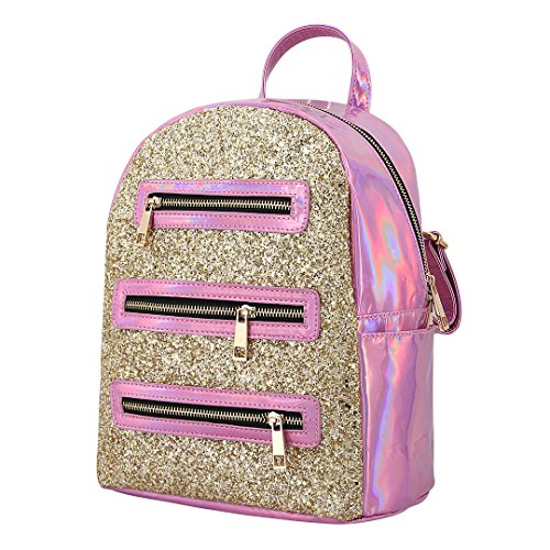 256c71e45cfc Candice Women Shiny Sequins Hologram Holographic PU Leather Shoulder Bag  Satchel Backpack School Bag (Pink)
