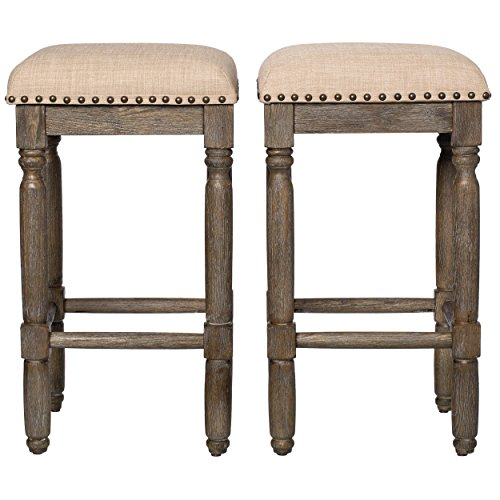Modern Rustic Style 26-inch Wood Backless Counter Stools with Beige Linen Upholstery Cushions with Brown Finish Set of 2 - Includes Modhaus Living Pen (Stools Counter Breakfast)