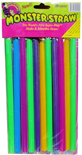 Monster Straw Milkshake and Smoothie Straws, Wide, Pack of 20, Assorted Colors