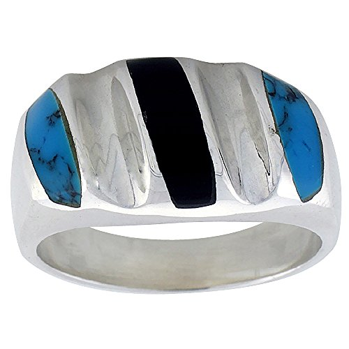 Sterling Silver Black Obsidian & Reconstituted Turquoise Ring for Men Oval Concave Stripes Solid Back Handmade, size 10
