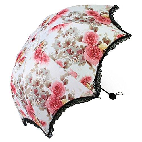 (kilofly Anti-UV Folding Travel Parasol Vintage Floral Rain Sun Shade Umbrella)