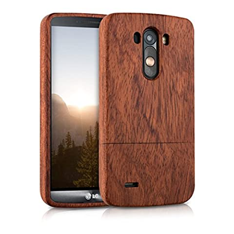 kwmobile Natural wood case for the LG G3 in rosewood red brown (Real Wood Cover For Lg G3)