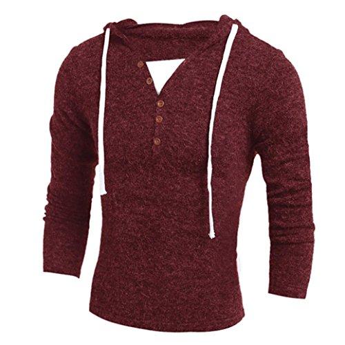 Vest Sweater V-neck Performance (Fashion Blouse Men's Comfy V-Neck Hooded Sweater Top Blouse (Wine Red, XL))