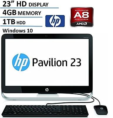 "HP Pavilion 23"" FHD IPS All-In-One AIO Desktop Computer, AMD Quad Core A8-6410 2.0 GHz CPU, 4GB RAM, 1TB HDD, DVDRW, USB 3.0, Webcam, RJ-45, Windows 10 (Certified Refurbished)"