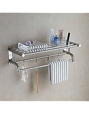 Eridanus Półka łazienkowa, wieszak na ręczniki ze stali nierdzewnej z podwójną półką na ręczniki, naścienna półka prysznicowa organizer (długość 60 cm)