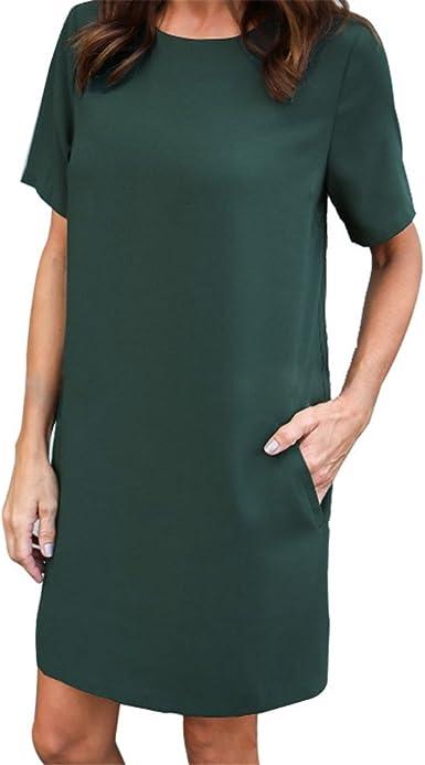 Fuweiencore Femme Robe Droite Chic Aux Manches Courtes Mini Robe Fluide Casual Grande Taille Ete Colore Vert Fonce Taille M Amazon Fr Vetements Et Accessoires