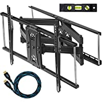 Cheetah Mounts APDAM2B Articulating Dual Arm TV Wall Mount Bracket for 32 to 65-Inch LCD, LED, Plasma, Flat Screen Monitors Bundle with Twisted Veins 10-Feet HDMI Cable and 6-Inch Level