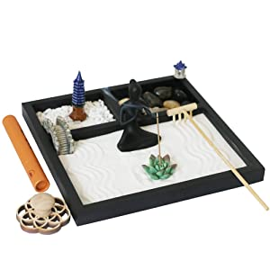 Tabletop Meditation Zen Garden - Office Desktop Mini Rock Zen Garden with Bamboo Rakes Yoga Statue Bridge Pagoda Nature Stone Gazebo (11Pcs)