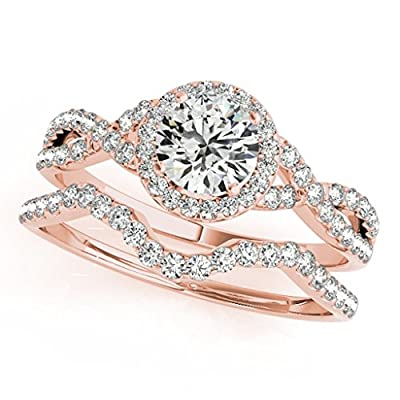 0.50 Carat Halo Daimond Engagement Bridal Ring Set 14K Solid Rose Gold