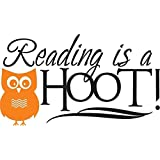 Vinyl Wall Decal - Reading is a hoot Classroom Kids Children Vinyl Wall Decal Picture Art 22 Colors Available 12X16