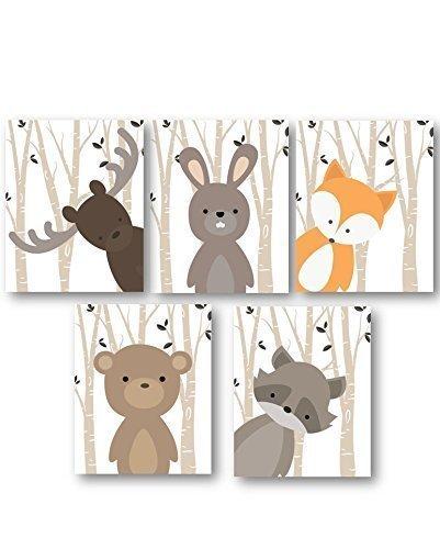 Boy Nursery Art, Woodland Nursery Animals, Baby Room Decor, Set of 5 PRINTS...