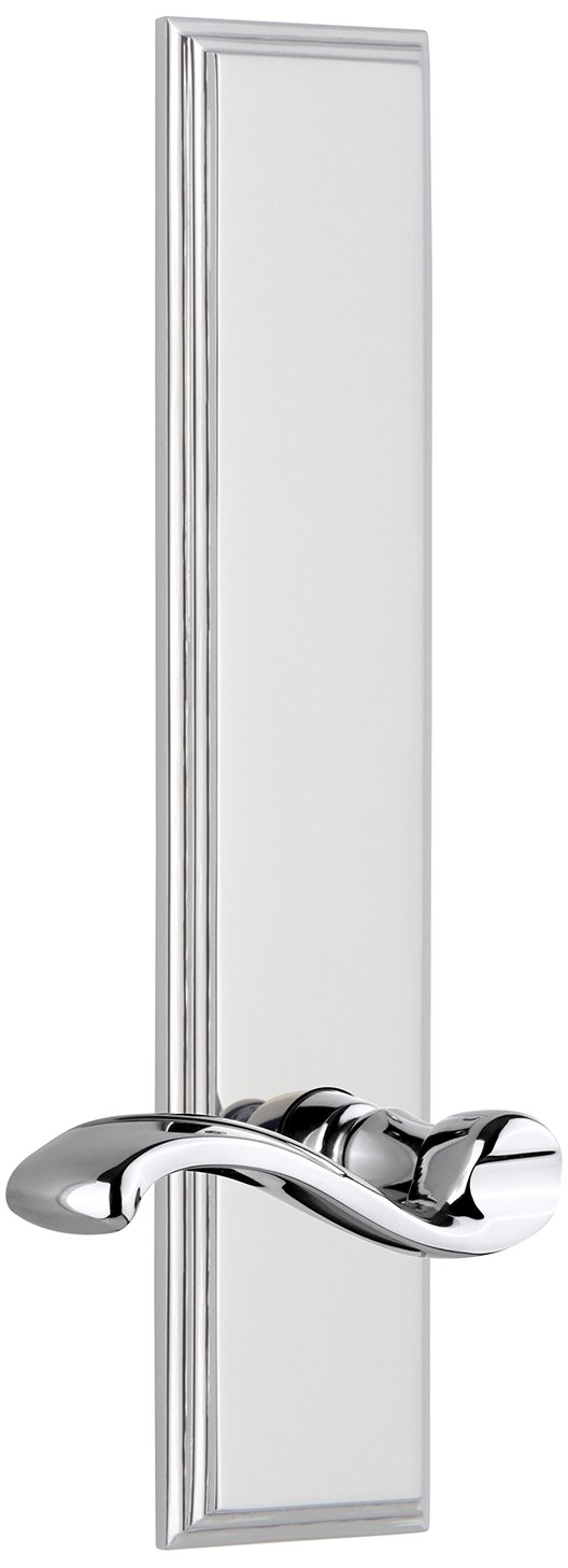 Grandeur 813952 Hardware Carre Tall Plate Passage with Portofino Lever in Bright Chrome Backset Size-2.75