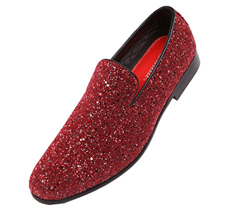 Smoking Glitter Mens Dress Shoe Burgundy Sparkling Slipper on Slip Amali Metallic Tuxedo fqF0dgA4qw