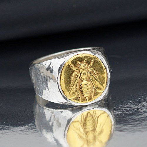 Bold Men's Ring w/ 24k Gold Plated Bee Coin Roman Art Handmade 925 k Sterling Silver By ()