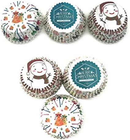 N//V 100 pz//Lotto Serie Natalizie Muffin Cupcake pirottini per Cupcake Fodere per Torta di Carta Stampo Vassoio Strumenti per Decorare Torte