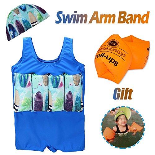 Jeferym Boys Girls Baby Life Jacket Float Suits Swim Vest with Adjustable Buoyancy Swim Cap Arm Band (1-2T, 2- Sky Blue)