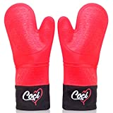 Silicone Oven Mitt Pair - Free Magnetic Hanger - Long Lasting Heat Protection - Use with Ovens and Grills – Perfect Fit for All Hand Sizes – Superior Hand Flexibility - Attractive in the Kitchen