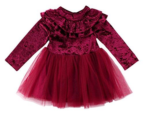StylesILove Little Girls Long Sleeve Ruffle Trim Velvet Tutu Dress (130/4-5 Years, Burgundy) ()