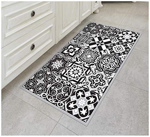 - Tiva Design B & W Vinyl Floor Mat: Decorative Linoleum PVC Rug Runner Tile Flooring in 12 Choices, Colorful, Durable, Anti-Slip, Hand Washable, and Protects Floors 47.2