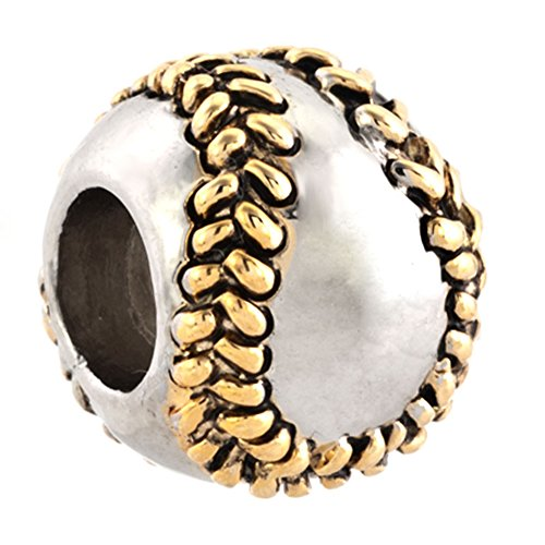 Charmed Craft New Baseball Charms Love Sports Jewelry Charm beads Pandora Bracelets (Baseball Charm Bracelet)