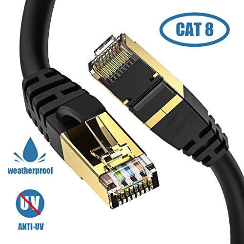 Cat8 SFTP Flat Internet Cable High Speed LAN Network Patch RJ45 Cable for Router CableGeeker Cat 8 Ethernet Cable 10ft Shielded Outdoor Modem Upgraded 26AWG, 40Gbps, 2000Mhz White Gaming