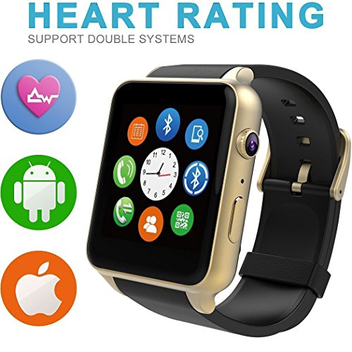 Price comparison product image Wingtech Bluetooth Wireless GT88 Smart Watch Pedometer Activity Tracker Heart Rate Monitor Watch with Camera Sim Card Slot for iOS / Android Smartphones (Gold)