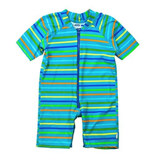- i play. Baby One-Piece Swim Sunsuit, Aqua Stripe, 12mo
